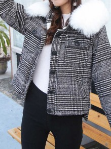 White Fur Plaid Pocket Button Hooded Long Sleeve Fashion Padded Coat