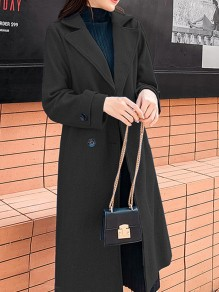 Black Double Breasted Pocket Turndown Collar Long Sleeve Elegant Wool Coat