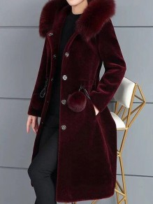 Weinrot Faux Fur Pelzkragen Langarm Winter Warme Fellimitat Pelzmantel Felljacke Mit Kapuze Damen Mode