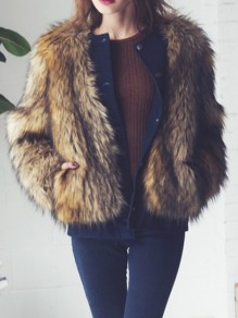 Braun Faux Fur Langarm Warme Dicke Fellimitat Pelzmantel Wintermantel Mantel Fur Fox Damen Mode