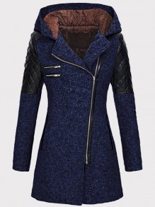 Dark Blue Patchwork PU Leather Zipper Hooded Long Sleeve Wool Coat