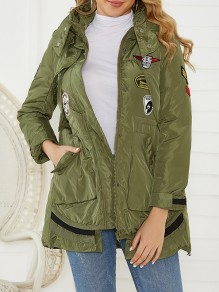 Army Green Patchwork Appliques Pockets Zipper Hooded Long Sleeve Padded Coat
