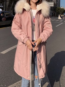 Pink Pockets Drawstring Faux Fur Cashmere Long Sleeve Oversize Hooded Padded Coat