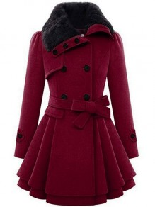 Burgundy Patchwork Faux Fur Fluffy Belt Double Breasted Long Sleeve Skirted Peacoat Coat