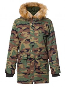 Green Camouflage Pocket Fur Hooded Long Sleeve Fashion Outerwear