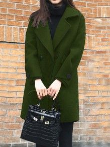 Army Green Double Breasted Pockets Turndown Collar Long Sleeve Elegant Wool Coat