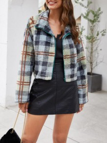 Green-Black Plaid Pattern Pockets Turndown Collar Fuzzy Teedy Cute Coat