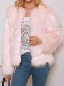 Pink Faux Fur Round Neck Long Sleeve Elegant Cardigan Coat Outerwear