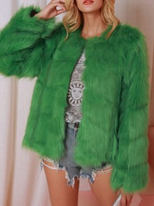 Green Faux Fur Round Neck Long Sleeve Elegant Outerwear