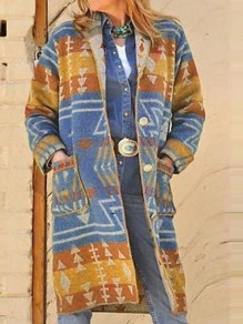 Yellow Aztec Print Pockets Buttons Turndown Collar Long Sleeve Aztec Long Coat