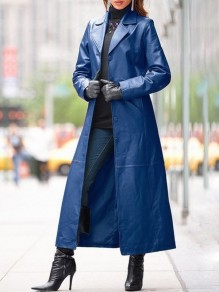 Blue Single Breasted Turndown Collar Long Sleeve PU Leather Vinyl Long Coat