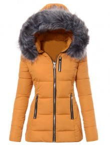 Yellow Pocket Fur Zipper Hooded Long Sleeve Fashion Padded Coat
