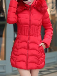 Red Pocket Fur Hooded Long Sleeve Fashion Padded Coat