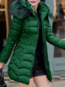 Green Pocket Fur Hooded Long Sleeve Fashion Padded Coat