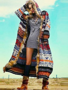 Red Patchwork Faux Fur Hooded Long Sleeve Aztec Print Flowy Long Aztec Coat