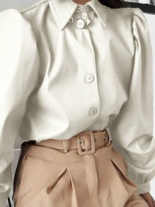 White Patchwork PU Leather Buttons Turndown Collar Long Sleeve Fashion Outerwear