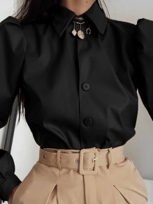 Black Patchwork PU Leather Buttons Turndown Collar Long Sleeve Fashion Outerwear