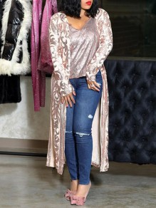 Champagne Sequin Floral Print Long Sleeve Bedazzled Casual Long Coat