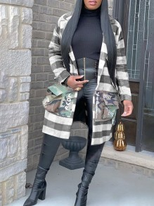 Grey Plaid And Letter Print Camouflage Pockets Tailored Collar V-neck Long Sleeve Buffalo Plaid Long Coat