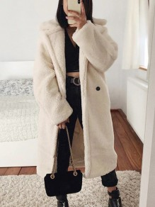 Beige Knöpfen Umlegekragen Langarm Oversize Dicker Winter Warme Mantel Teddy Jacke Damen Mode