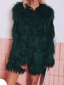 Green Faux Fur Round Neck Long Sleeve Fashion Oversize Coat
