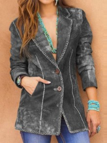Grey Patchwork Buttons Pockets Turndown Collar Long Sleeve Fashion Outerwear