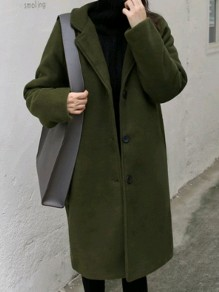 Army Green Buttons Pockets Turndown Collar Long Sleeve Oversize Wool Coat