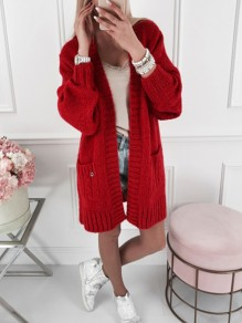 Red Pockets V-neck Long Sleeve Oversize Fashion Cardigan Sweater