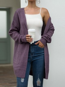 Cardigan poches col V manches longues mode oversize violet