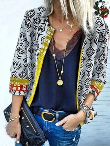 White Geometric Appliques EmbroideryOthers Long Sleeve Fashion Cardigan Sweater