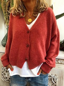 Pull boutons col V confortable sortant rouge