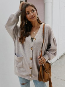 Grey Pockets Buttons V-neck Long Sleeve Oversize Cardigan Sweater