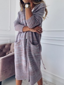Cardigan poches manches longues mode oversize violet