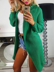 Green Oversize Turndown Collar Long Sleeve Fashion Cardigan Sweater
