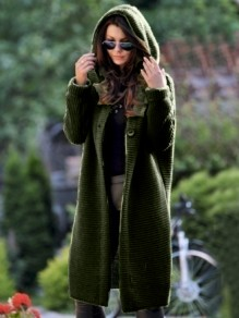 Green Buttons Hooded Long Sleeve Oversize Fashion Cardigan Sweater