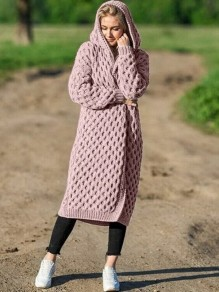 Pink Hooded Long Sleeve Oversize Fashion Cardigan Sweater