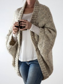 Khaki V-neck Dolman Sleeve Oversize Fashion Cardigan Sweater