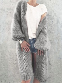 Graue Zopfmuster Laternenärmel Oversize Grobe Cardigan Strickjacke Lang Sweater Damen Mode
