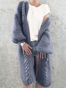 Blue V-neck Lantern Sleeve Oversize Fashion Cardigan Sweater
