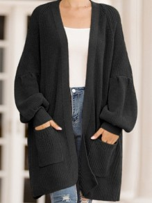 Black Pockets Oversize V-neck Lantern Sleeve Casual Cardigan Sweater