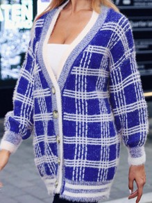Blue Plaid Buttons V-neck Long Sleeve Casual Cardigan Sweater