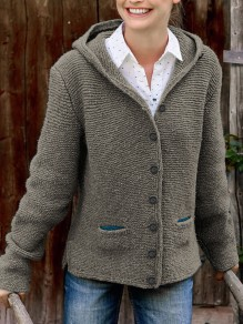 Cardigan poches poitrine capuche manches longues mode gris