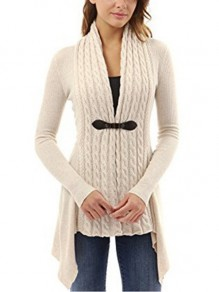 White Patchwork Irregular Comfy V-neck Fashion Sweaters Cardigan