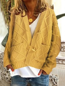 Gilet poches boutons manches longues oversize jaune