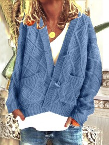 Cardigan poches boutons manches longues oversize bleu