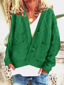 Cardigan poches boutons manches longues oversize vert