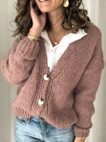 Camel Single Breasted V-neck Long Sleeve Oversize Cardigan Sweater
