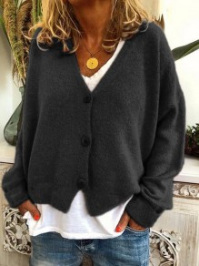 Black Buttons V-neck Long Sleeve Oversize Fashion Cardigan Sweater