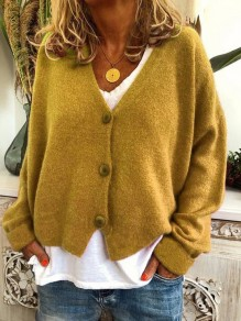 Cardigan boutons col en V manches longues mode oversize jaune