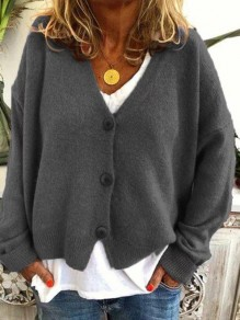 Grey Buttons V-neck Long Sleeve Oversize Fashion Cardigan Sweater